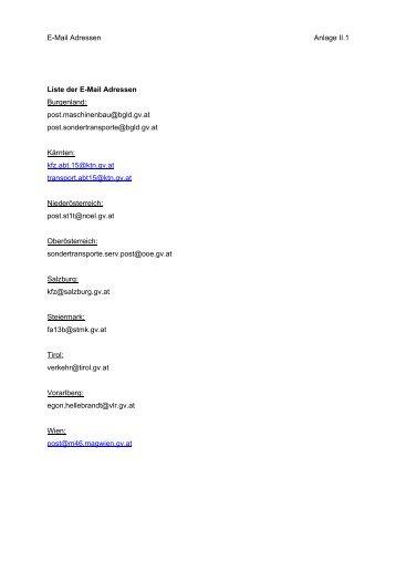 Liste der E-Mail Adressen