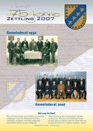 Gemeinderat 1932 Gemeinderat 2007 - Gemeinde Zettling
