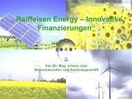 Raiffeisen Windparks: Energieproduktion: 155 Mio kWh pro Jahr CO