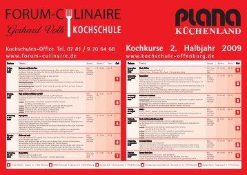 Kochkurse 2. Halbjahr 2009 - Forum-Culinaire