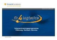 fit4logistics - Orte, Zeiten, Preise 2013 (PDF-Datei) - Forward Academy