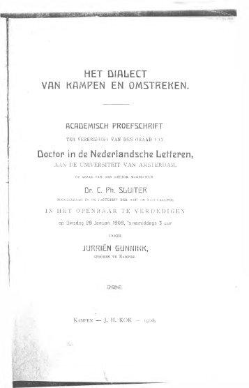Het dialect van Kampen en omstreken - De Taal van Overijssel