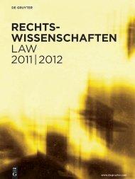 Rechts- wissenschaften LAW 2011 | 2012 - Walter de Gruyter