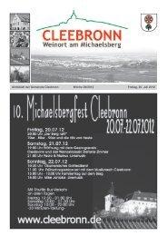 Amtsblatt der Gemeinde Cleebronn Woche 29/2012 Freitag, 20. Juli ...
