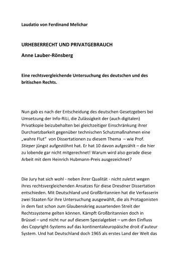 Laudatio Prof. Dr. Melichar zur Verleihung des Heinrich - VG Wort