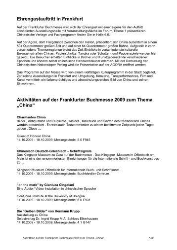 Ehrengastauftritt in Frankfurt Aktivitäten auf der ... - Chinaseiten