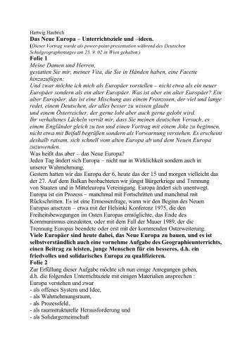 Das Neue Europa – Unterrichtsziele und –ideen. Folie ... - Geographie