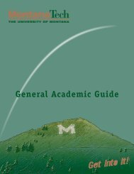 General Academic Guide - Montana Tech of the University of Montana