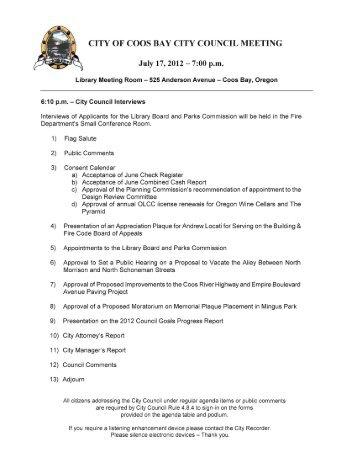 city of coos bay city council meeting - City of Coos Bay - Delaris