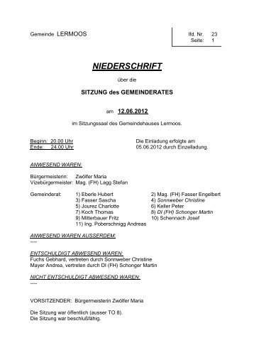 Protokoll der 23. Sitzung vom 12.06.2012 - Gemeinde Lermoos