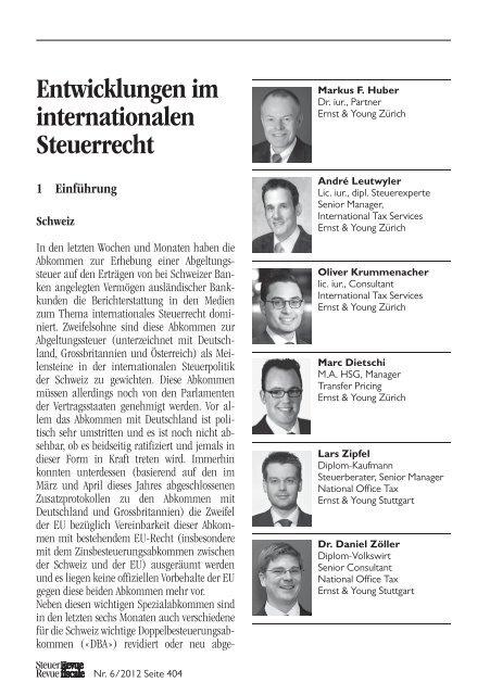 Entwicklungen im internationalen Steuerrecht - Home - Ernst ...