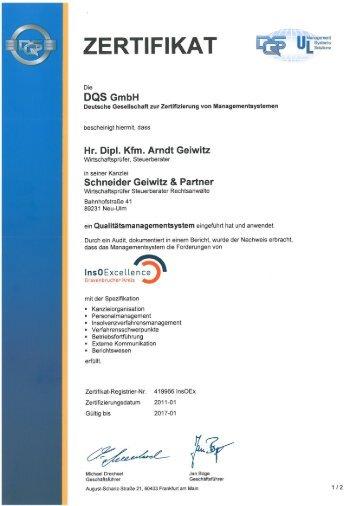 Zertifikat InsO Excellence (PDF) - Schneider, Geiwitz & Partner