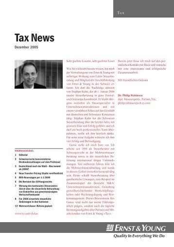 TAX News - Dezember 2005 - Home - Ernst & Young - Schweiz