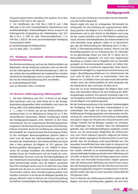 Arbeitsrechtliche Entscheidungen Ausgabe 2005-04