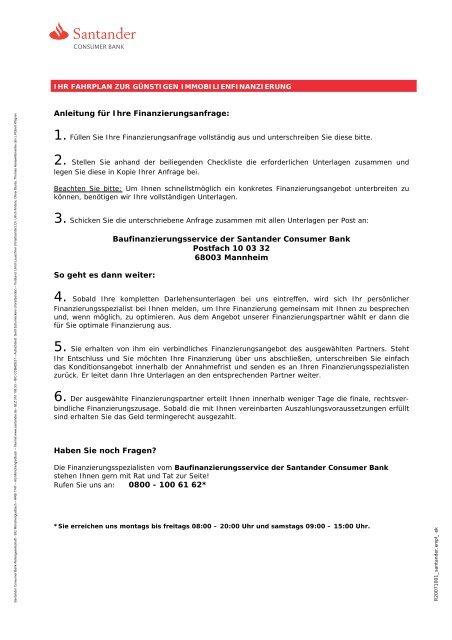 Blanko-Darlehensantrag für Ihre Erstfinanzierung - Santander ...