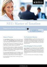 NEU: Master of Taxation - Steuerlehrgänge Dr. Bannas