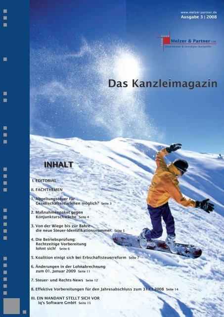 Ausgabe Nr. 6 Dezember 2008 ( PDF 950 KB - Melzer & Kollegen