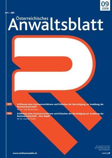 Anwaltsblatt 2008/09 - Österreichischer Rechtsanwaltskammertag