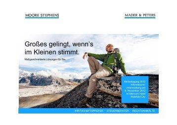"""Vortrag zum Thema: """"Investitionsberatung und ... - Mader & Peters"""