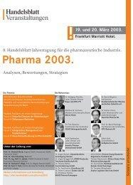 Pharma 2003. - Verlagsgruppe Handelsblatt