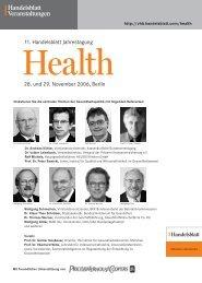 11. Handelsblatt Jahrestagung 28. und 29. November 2006, Berlin