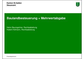 Baulandbesteuerung + Mehrwertabgabe - Heinz Baumgartner ...