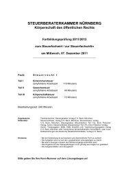STEUERBERATERKAMMER NÜRNBERG Körperschaft des