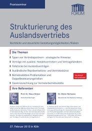 Strukturierung des Auslandsvertriebs - Forum Institut für ...