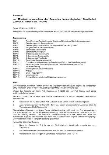 Protokoll der Mitgliederversammlung 2009 - DMG