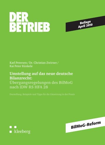 Umstellung auf das neue deutsche Bilanzrecht ... - Kleeberg