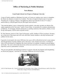 Grant Funds Liberal Arts Course - Madonna University
