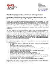 WAZ Mediengruppe setzt auf modernere Führungsstruktur