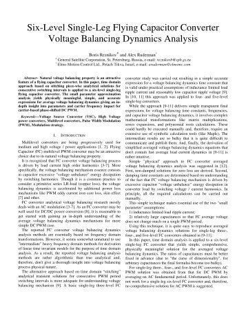 Six-Level Single-Leg Flying Capacitor Converter Voltage Balancing ...