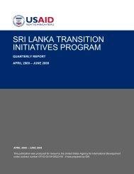 SRI LANKA TRANSITION INITIATIVES PROGRAM