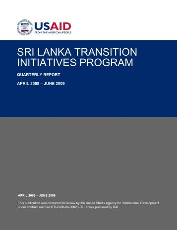 SRI LANKA TRANSITION INITIATIVES PROGRAM