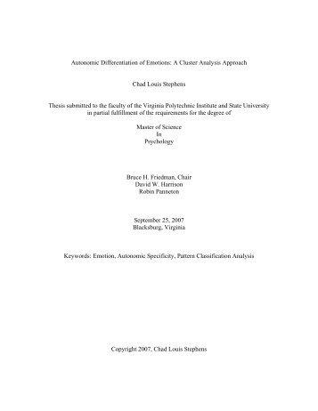 Autonomic Differentiation of Emotions: A Cluster ... - Virginia Tech