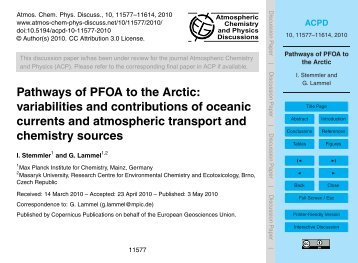 Pathways of PFOA to the Arctic: variabilities and ... - ACPD