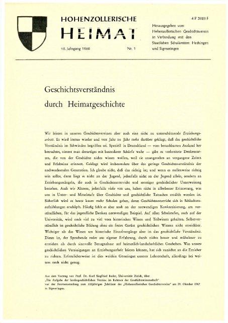 Ausgabe 1968 Hohenzollerischer Geschichtsverein Ev