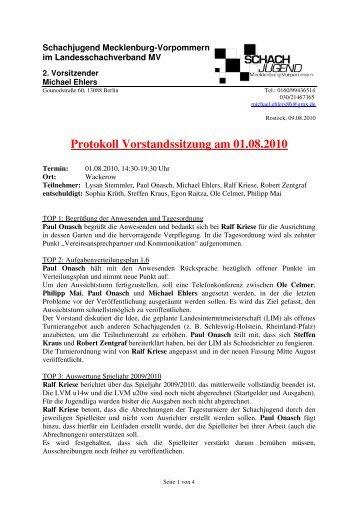 Protokoll Vorstandssitzung am 01.08.2010 - Landesschachverband ...
