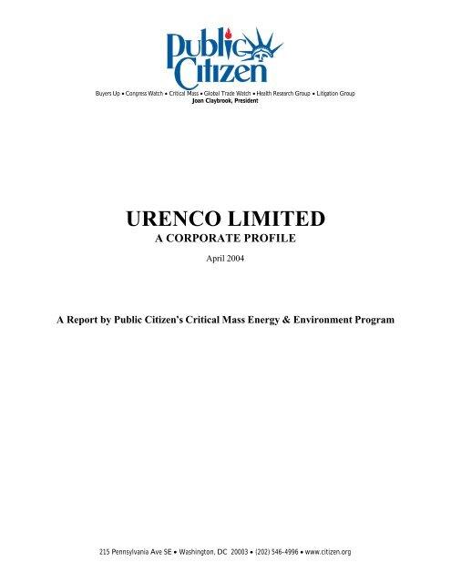 Urenco Limited: A Corporate Profile - Public Citizen