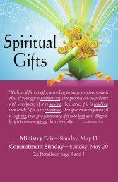 Ministry Fair—Sunday, May 13 Commitment Sunday—Sunday, May 20