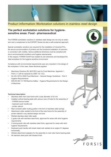 Product information: Workstation solutions in stainless steel ... - Forsis