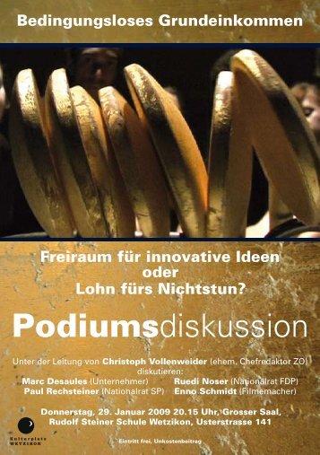Podiumsdiskussion - Grundeinkommen.ch