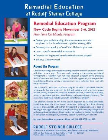 emedial Education Program - Rudolf Steiner College