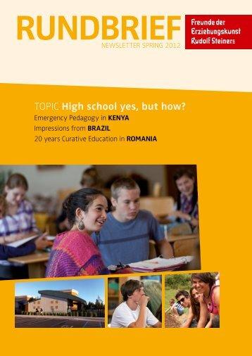 Topic High school yes, but how? - Freunde der Erziehungskunst ...