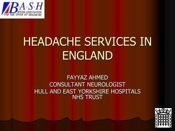 HEADACHE SERVICES IN ENGLAND - Headache UK