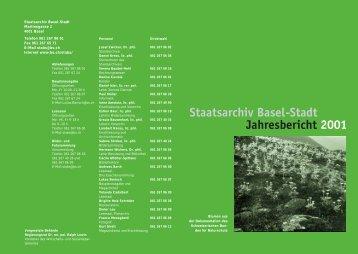 Erschliessung - Staatsarchiv - Basel-Stadt