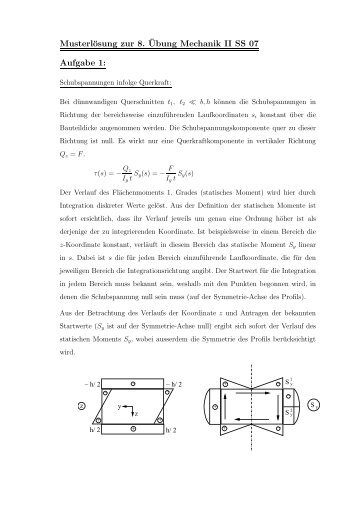 Musterlösung zur 8. ¨Ubung Mechanik II SS 07 Aufgabe 1: