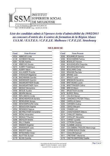 Liste des candidats admis à l'épreuve écrite