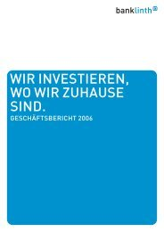 Geschäftsbericht 2006 - Bank Linth